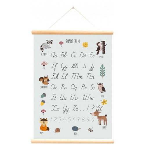 schoolkaart dubbelzijdig bosdieren alfabet blauw
