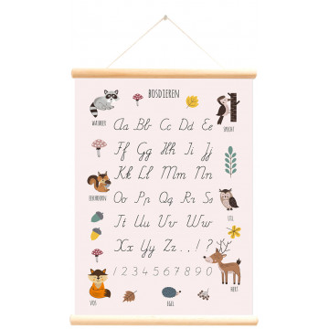 schoolkaart dubbelzijdig bosdieren alfabet roze