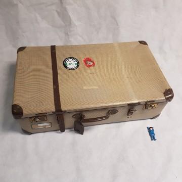 valies beige bruin met 1 riem